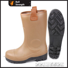 PVC Brown Color Safety Rain Boot with Steel Toe (SN5123)
