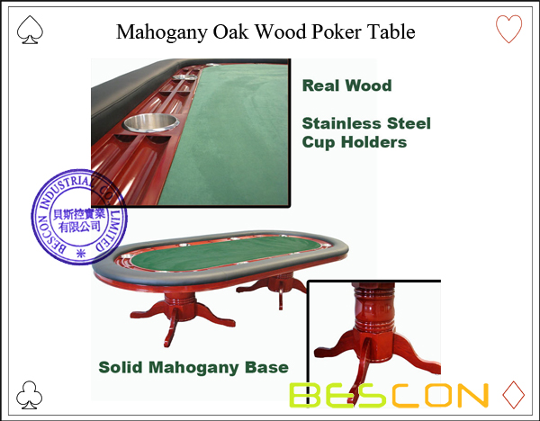 Mahogany Oak Wood Poker Table-2