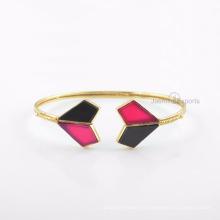 Красивый Черный Оникс Браслет, Розовый Халцедон Драгоценный Камень Золото Браслет Ювелирных Изделий