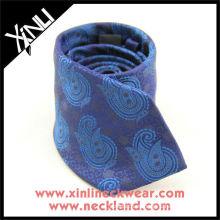 Corbata de seda tejida granadina azul púrpura grande de Paisley, lazo de seda de Paisley