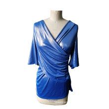 Latest Shiny Blue V-Neck 3/4 Sleeve Women′s T-Shirt