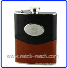 9oz Stainless Steel Hip Flask with Leather (R-HF014)
