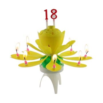 Urodziny Rotated Chryzantema Music Candle
