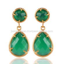 Beautiful Green Onyx Smooth Bezel Round & Pear Shape 18K Gold Plated Brass Drop Earring