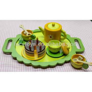 wooden green tea play set kitchen toy