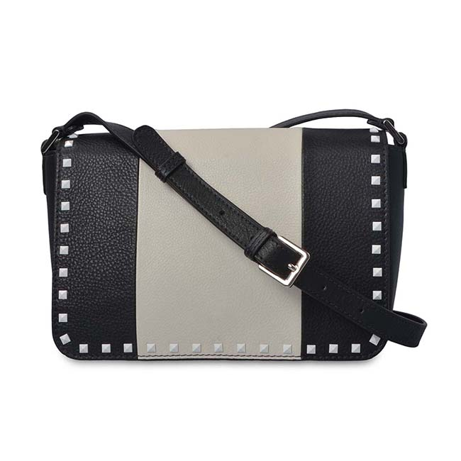 high quality fashion leather handbag matching rivet crossbody messenger satchel bag