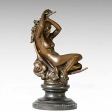 Nude Figure Statue Moon Dream Lady Bronze Sculpture TPE-386