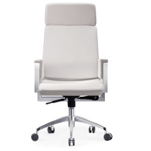White Cow Leather Foam Type High Back Executive Office Chair