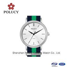 Pulsera reloj cuarzo fecha Men′s tela militar genuino reloj de pulsera