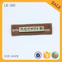 LB393 Коричневый пользовательский металлический логотип beanie leather patch