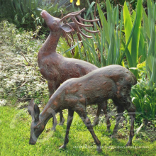 Escultura dos cervos do bronze do tamanho de vida dos ofícios do metal da decoração do jardim para a venda
