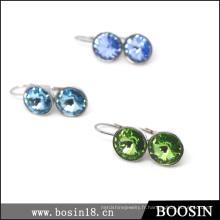 Très belles boucles d'oreilles en cristal bleu à prix usine en gros # 21712