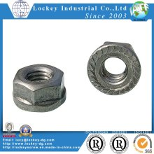 Grade 2 Hex Flange Nut with Serration Zinc Plated