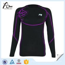 Chemise de compression blanche manches longues Spandex Sports Shirts