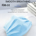 Mascarilla dental desechable azul 3ply de tamaño adulto