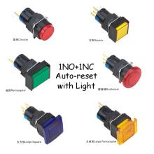 Botón de agujero de 16 mm Resistente al agua 1no + 1nc Botón de reinicio automático con lámpara