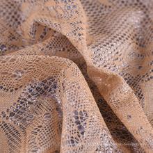 Tela revestida 100% del cordón de la pu consolidada hecha punto impermeable barata del poliéster para la ropa
