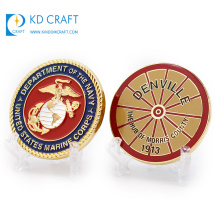 Wholesale free samples custom blank metal double sided 3d enamel commemorative military navy usmc challenge coin