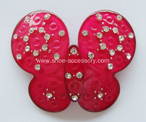 Butterfly Design Shoes Accessories, Acrylic Rhinestone Buckle, Lovely Kids' Shoe Part
