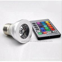 LED RGB Spotlgiht E27 3W avec télécommande