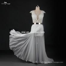 RSW774 Sexy High-Low Skirt Metal Gold Belt Crystal Beads For Julie Vino Wedding Dresses