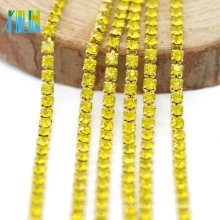 Best Selling Citrine Color Rhinestone Dense Cup Diamante Chain Trim By The Yard for Shoes, G0107