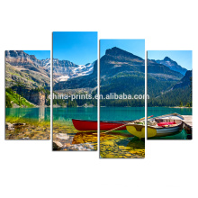 Boat on Lake Canvas Prints/Natura Scenery Canvas Wall Art/Home Wall Decor Picture