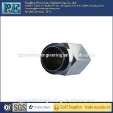 CNC personalizado que mecaniza la guarnición de la pipa del hexágono del acero inoxidable