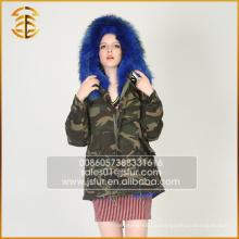 Топ высокого качества Длинный стиль Fox женщин куртка случайных меха парка