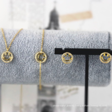 s925 sterling silver charm jewelry set gold-plated smiley face necklace bracelet earrings
