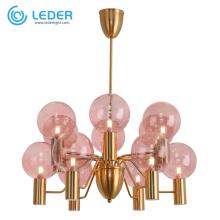 LEDER PInk Glass Chandelier Lamp