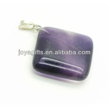 Alta qualidade natural purple fluorita rhombus pingente pingente de pedra semi preciosas