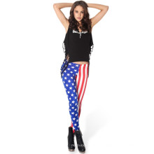 Art und Weise USA-Markierungsfahnen-Druck-Gamaschen für Frauen, amerikanische Flaggen-Hosen, heißer Verkauf USA-Markierungsfahnen-Druck-enge Gamaschen für Art- und Weisemädchen