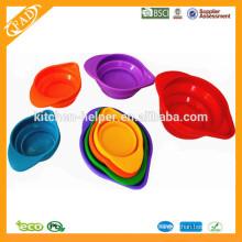 Eco-friendly apilable plegable antiadherente grado de alimentos de silicona medir la taza