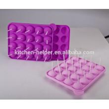 20 pedazos de molde vendimia caliente respetuoso del medio ambiente de la magdalena del Lollipop del silicón