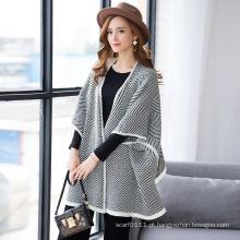 Senhora fashion herringbone acrílico malha cardigan xale (yky4515)