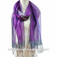 Newest lady's fashion cheap wholesale dreamy light weight single layers silk polyester blended long scarf shawl