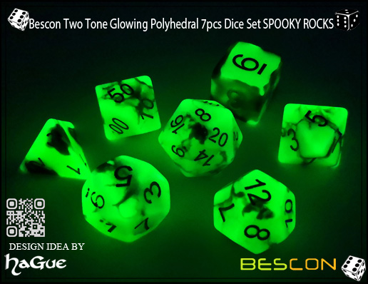 Bescon Two Tone Glowing Polyhedral 7pcs Dice Set SPOOKY ROCKS-4
