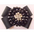 Black Beads&Crystal Rhinestone Centered Fabric Shoe Flower