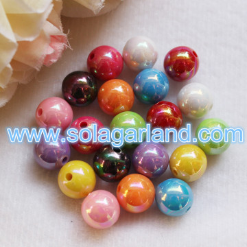 6/8/10/12/14 MM Acrylic Plastic Round AB Chunky Beads