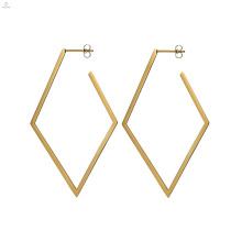 Rhombus Geometrische Statement Gold Stud Vintage Ohrringe