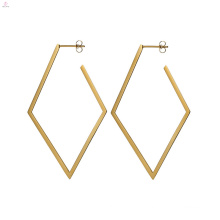 Rhombus Geometric Statement Gold Stud Vintage Earrings
