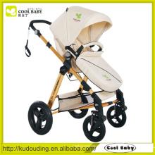 Bebê Cool Baby NEW Carrinhos de Bebê Branco Seat reversível de alumínio prata Rodas giratórias com Suspensão Carrying Cot