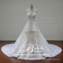 Rhinestone appliques colgante de moda a-line vestido de novia con la ilusión v-cuello y ver a través de la espalda