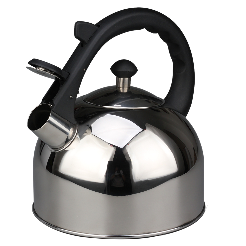 Stainless Steel Whistling Tea Pot Comfortable Plastic Handle Design