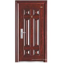 Red Walnut Colour Simple Panel Steel Security Door