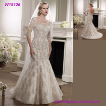 Best Selling Bilder von Latest Gowns Designs Grau Spitze V-Back Brautkleid