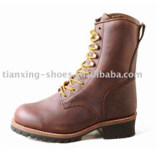 logger boots with crazy horse leather and rubber outsole