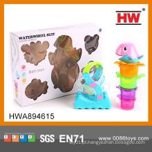 Crianças Mini plástico Stacked Cup Jogo Baby Dolphin Banho Toy