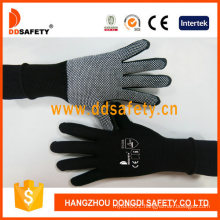 Black Cotton with White Mini PVC Dots Safety Hand Gloves